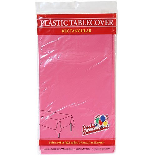 Plastic Party Tablecloths - Disposable, Rectangular Tablecovers - 4 Pack - Hot Pink - By Party Dimensions]()