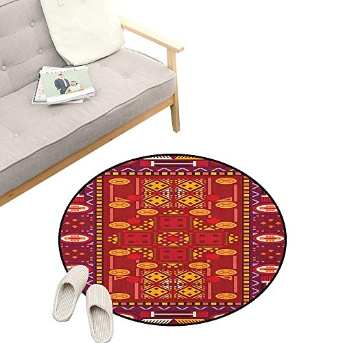Afghan Custom Round Carpet ,Afghan Pattern with Eastern Folklore Inspirations Geometric Shapes in Warm Colors, Dorm Room Bedroom Home Decorative 39