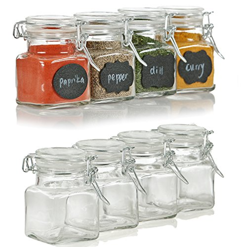 b4fd5f5dbde6 12 Pack - 3 Ounce Mini Clear Glass Spice Jar Container Set - Import ...
