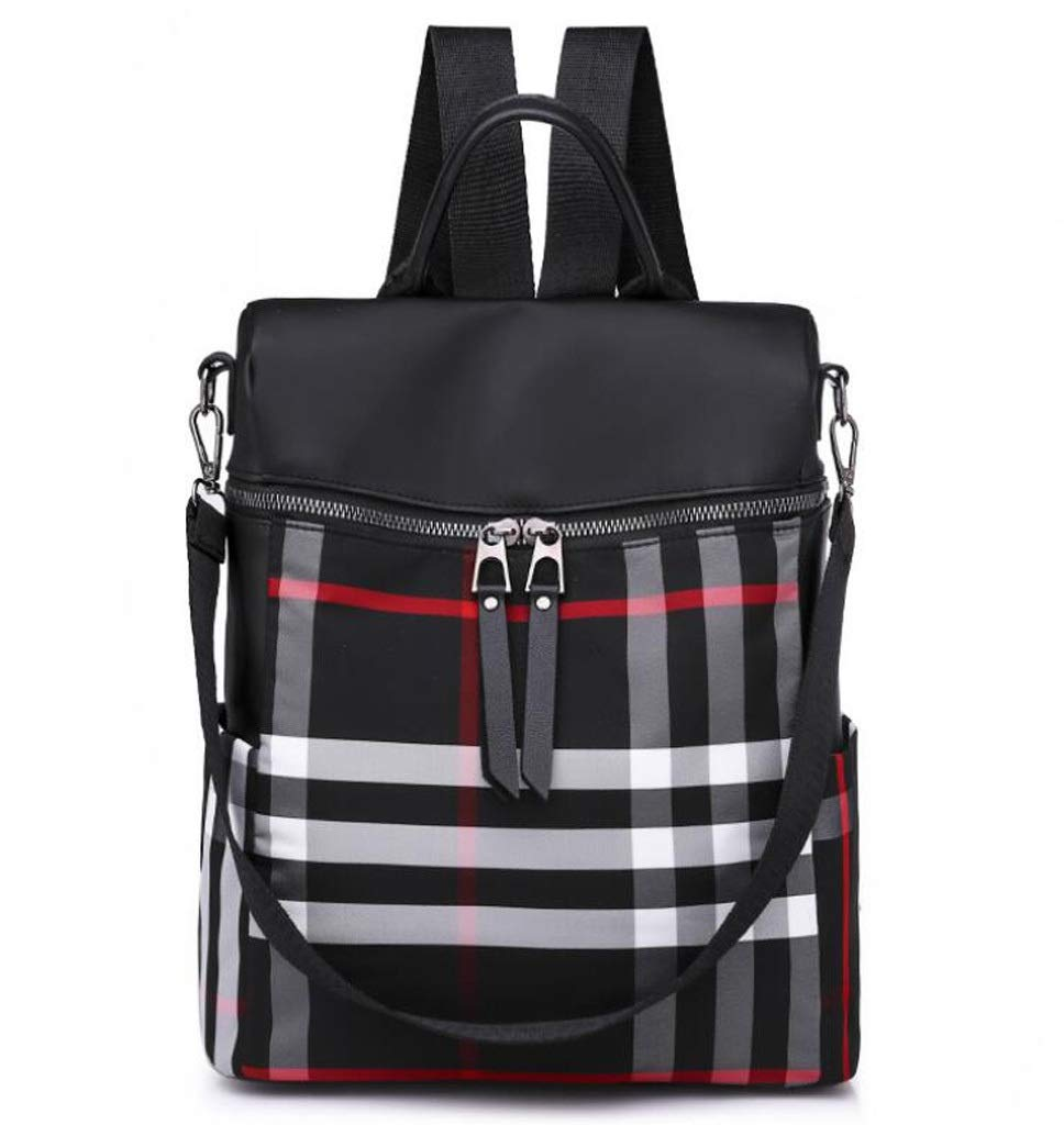 Spring and Summer Dual-use Waterproof Backpack Large Capacity Casual Plaid Student Bag Oxford Cloth Bag (Color : Black, Size : OneSize)
