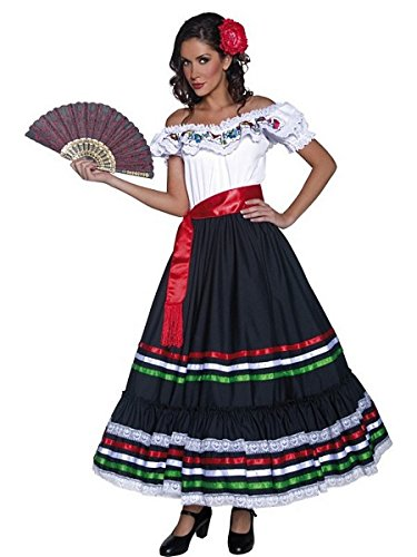 Smiffys Women's Authentic Western Sexy Senorita Costume, Dress and Sash, Multi, Small