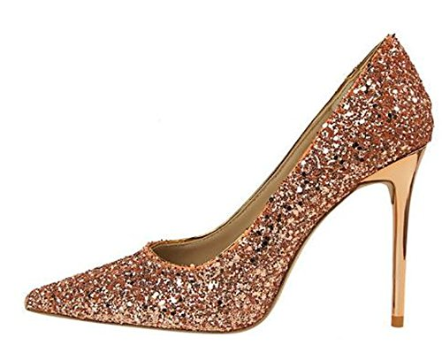 M Pointed Heel Womens Pumps Women B 34 Shoes Champagne 3 Party Wedding Sequins Toe Pumps High Cloudless US 1AZx5qx