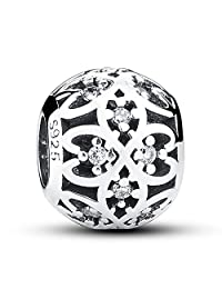 NINGAN Lucky Clover Floral Openwork Charm 925 Sterling Silver Charms Fits Pandora, European Bracelets Compatible