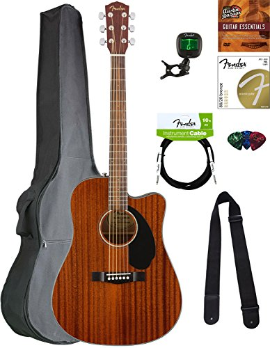 Fender CD-60SCE Dreadnought Acoustic-Electric Guitar – All Mahogany Bundle with Gig Bag, Tuner, Strap, Strings, Picks, Austin Bazaar Instructional DVD, and Polishing Cloth
