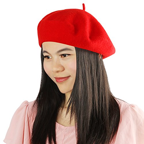Acecharming Womens French Style Beret Wool Beanie Hat Cap(Thin, Red) -