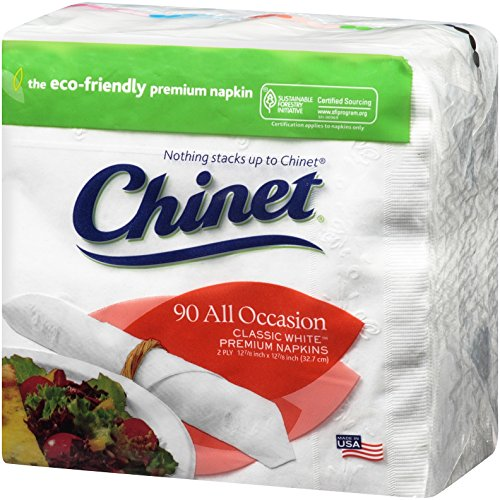 (Chinet Classic All Occasion 2 Ply Napkins, White, 90 ct (Pack of 12))