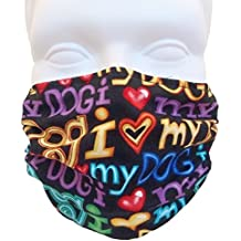 I Love My Dog Style Face Mask - Comfortable, Reusable Face Mask - Dust Mask - Filters Dust, Dander, Pollen, Allergens, & Flu Germs - Ideal for Dog Grooming