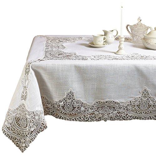 Violet Linen Seville Embroidered Vintage Lace Design White Tablecloths - 52