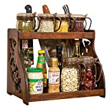 Kitchen Racks,Multifunctional Wooden Spice Rack with, Contemporary Style - Shelves for Spice Jars, Boxes, Jars (Natural Wood)