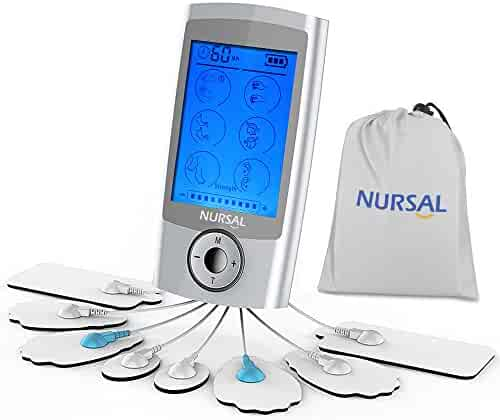 NURSAL TENS Unit Rechargeable FDA Cleared Electronic Pain Relief Massager With 8 Pads