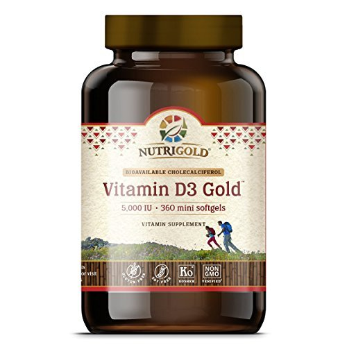 Nutrigold Vitamin D3 5000 IU, 360 Mini Softgels (GMO-free, Preservative-free, Soy-free, USP Grade Natural Vitamin D in Organic Olive Oil) by Nutrigold