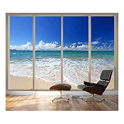 Majestic Craft, With Expert Quality, Large Wall Mural Tropical Beach Seen Through Sliding Glass Doors 3D Visual Effect Vinyl Wallpaper Removable Decorating