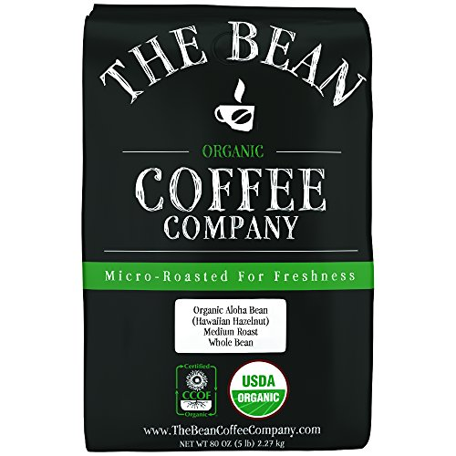 The Bean Coffee Company Organic Aloha Bean (Hawaiian Hazelnut), Medium Roast, Whole Bean, 5-Pound Bag