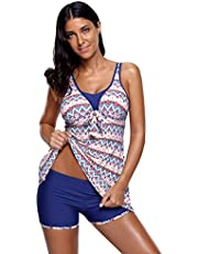 UONBOX Women's Womens Bathing Suits Zip Front Racerback Tankini Set Skirted Swimsuits
