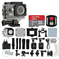 4K HD DV 16MP Sports Action Camera, (Black) - Wi-Fi + Wrist RF + 170° Wide Angle Lens + Waterproof Case & Backdoor + SanDisk 32GB Memory Card + Bike Mount + Clip Holder + Ultimate Accessory Bundle