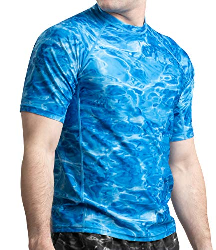 (Aqua Design Men Loose Fit Rash Guard Surf Swim Sun Protection Clothing Rashguard Royal Ripple)