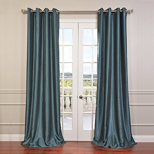 Half Price Drapes PDCH-KBS14-96-GRBO Grommet Blackout Vintage Textured Faux Dupioni Silk Curtain, Peacock