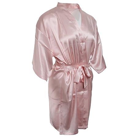8492084305b5 MagiDeal Hot Sale Silk Satin Wedding Rope Pajamas Woman Bridal Gown Kimono  Robe Nightwear - Pink