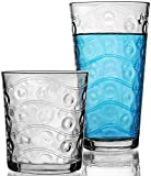 Circleware 40179 Huge Set of 16 Drinking Glasses & Whiskey Cups, Home & Kitchen Party Entertainment Glassware for Water, Beer, Juice, Ice Tea, Bar Beverage Gifts, 8-15.7 oz & 8-12.5 oz, Cosmo 16pc