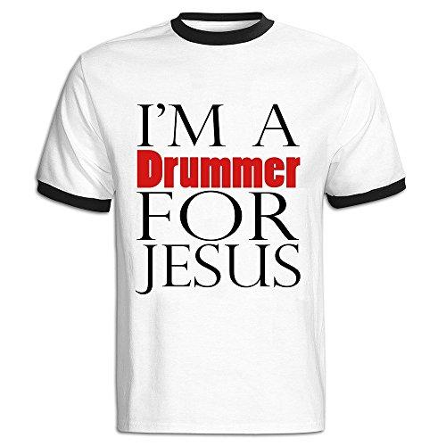 - AWSY Men's I'm A Drummer For Jesus Baseball T Shirt Black