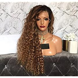 KRN 1b30 Ombre Color Kinky Curly Wigs Human Hair Full Lace Wigs Glueless Lace Front Wigs For Black Women 200% Density (14 Inch, Full Lace Wig)