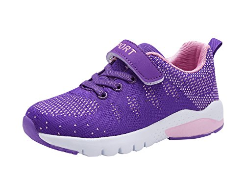 MAYZERO Kids Tennis Shoes Breathable Athletic Shoes Lightweight Walking Running Shoes Fashion Sneakers for Boys and Girls Purple (Girls Purple Tennis Shoes)