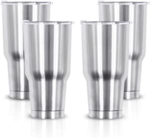 XccMe 30 oz Stainless Steel Tumbler,Double Wall Vacuum with Lids and Straws Tumblers,Travel Mugs,Coffee Cup,Great for Ice Drinks and Hot Beverage(Silver 4 Pack)