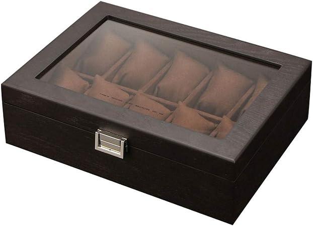 0LL Caja Relojes Hombre Estuche/Guarda Relojes Hombre para 10 Relojes Madera Tapa de Cristal con Cerradura para Guardar Relojes en el Hogar, Viajes, Negocios (Color : A): Amazon.es: Hogar