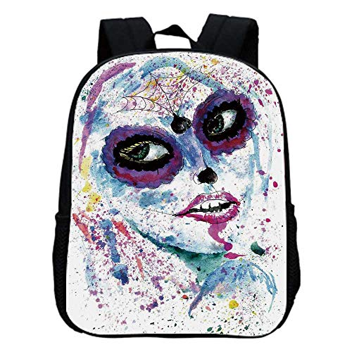 Girls Fashion Kindergarten Shoulder Bag,Grunge Halloween Lady with Sugar Skull Make Up Creepy Dead Face Gothic Woman Artsy For Hiking,One_Size -