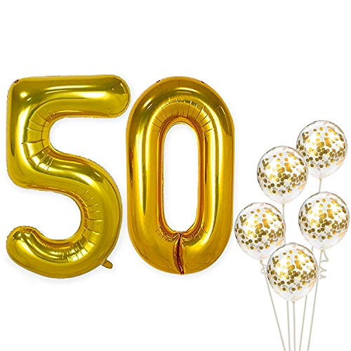 KatchOn Number 50 and Gold Confetti Balloons - Large, 40 Inch Foiil Gold Balloons | 5 Gold Confetti Balloons, 12 Inch | 50th Birthday Party Decorations | Party Supplies for Anniversary Décor ()