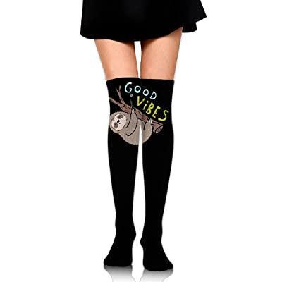 WRE8577 Women's Knee High Sport Long Sock Good Vibes Funny Sloth For Soccer Sport Long Stockings