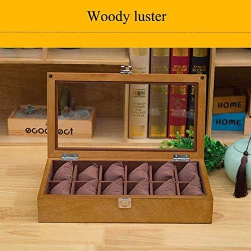 SBSNH ストレージボックス-12グリッドオーガナイザーウォッチボックス木製ウォッチディスプレイボックスジュエリーブレスレットストレージボックス