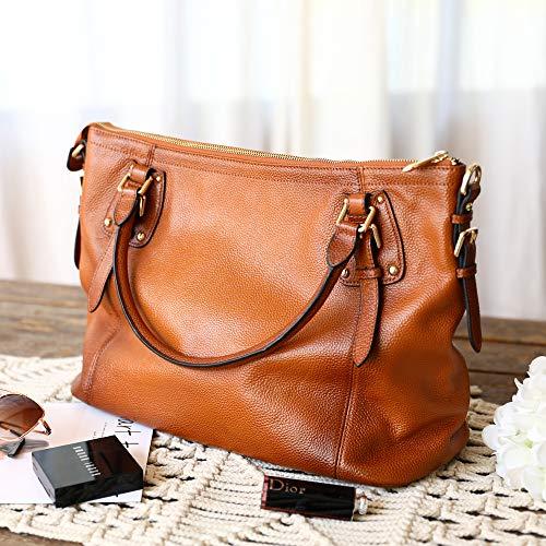 Kattee Women's Genuine Leather Handbags Shoulder Tote Organizer Top Handles Crossbody Bag Satchel Designer Purse 7