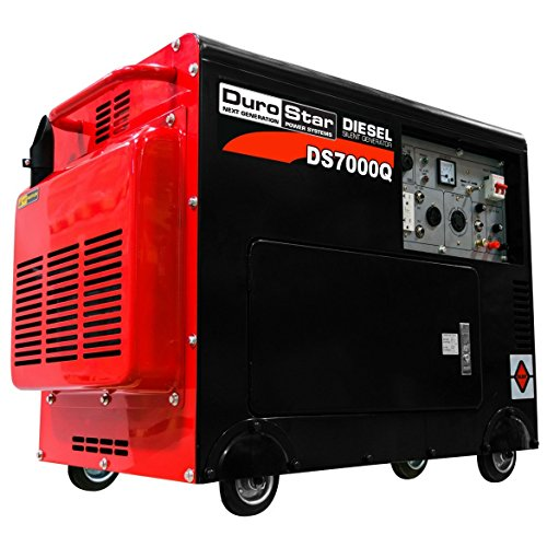 (DuroStar DS7000Q 6,500 Watt Enclosed Portable Diesel Generator, Black/Red)