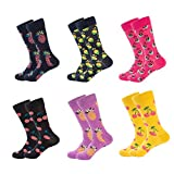 WULFUL Men's Dress Socks Colorful Patterned Novelty Crew Socks 6 Packs For Business Casual