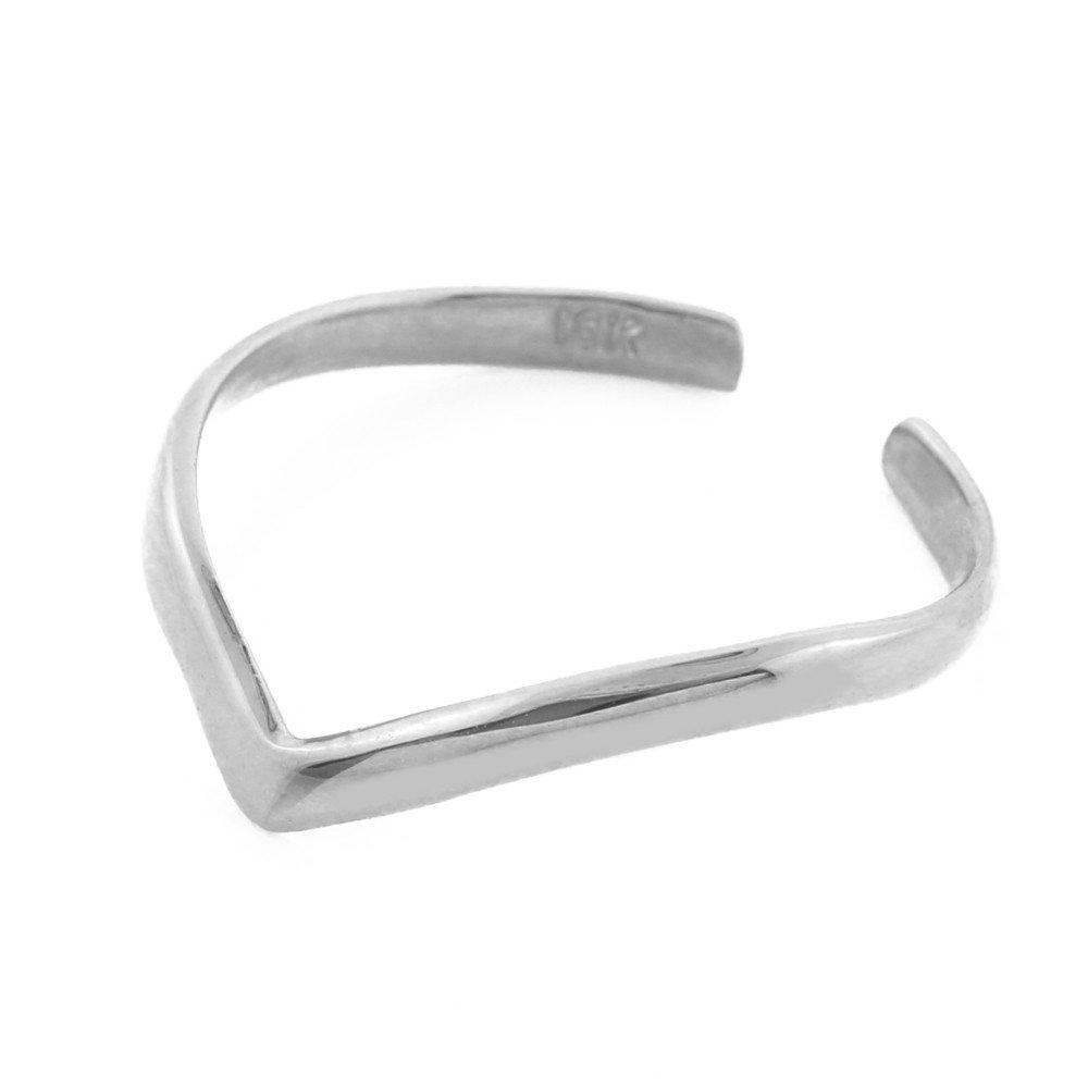 14k White Gold Chevron Stackable Toe Ring