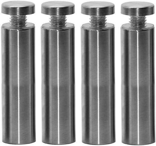 8 cm Abstandshalter Schilderbefestigung /Ø 1,9cm Schraubbar Wandabstandshalter Edelstahl Rund Glashalter Acrylglas Schilder Modell:4 St/ück
