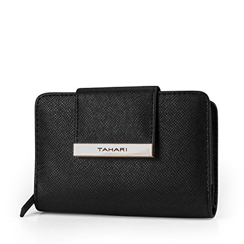Tahari Hold on Small Womens Wallet RFID Blocking Compact Clutch Organizer Vegan Leather (Black)
