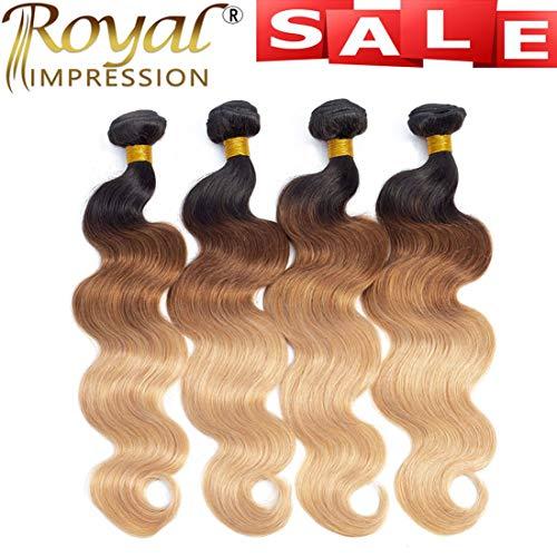 """10A Ombre Brazilian Body Wave Human Hair 4 Bundles (T1B/30/27,20"""" 22"""" 24"""" 26"""") Ombre Brazilian Virgin Hair Bundles Unprocessed Remy Hair Bundles 3 Tone Ombre Bundles"""