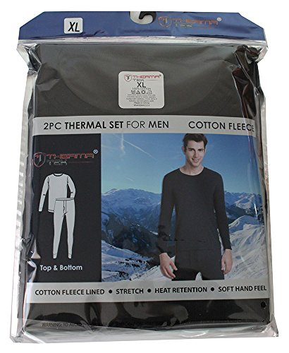 therma-tek-previously-comfort-fit-mens-winter-thermal-cotton-fleece-top-bottom-2-pcs-set-black-l