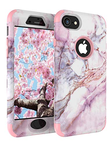 iPhone 8 Case, Cute iPhone 7 Marble Case for Women, Tobomoco Shockproof Full Body Protective Cover Tri-Layer Slim Soft Flexible Silicone and Hard PC for Apple iPhone 7/8 (Marble)