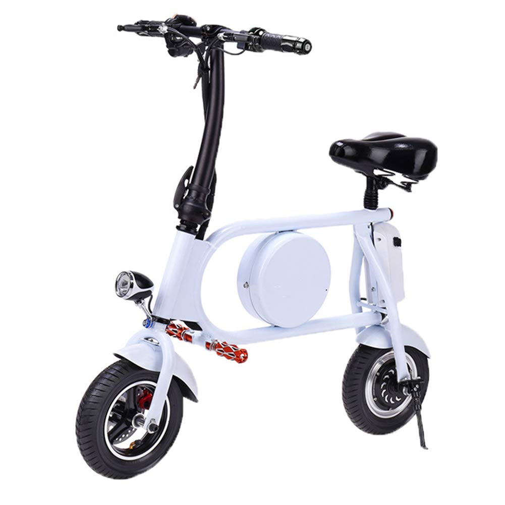 HBB Mini Bicicleta Eléctricas,Plegable Coche Eléctrico Inteligente Scooter Moda De Bicicletas Ajustable Asiento con Luz LED Ligero Adulto Ciclomotor para Montar Al Aire Libre,White,Battery~11Ah