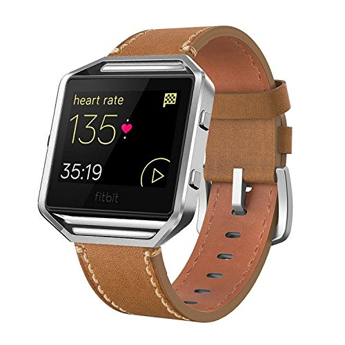 (Andyou for Fitbit Blaze Bands Leather with Frame Small Large (5