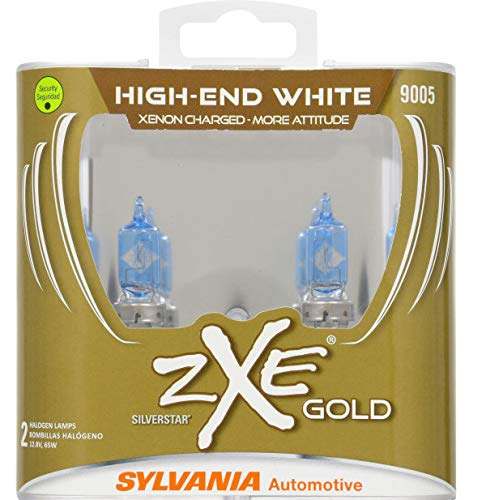 (SYLVANIA - 9005 (HB3) SilverStar zXe GOLD High Performance Halogen Headlight Bulb - Bright White Light Output, Best HID Alternative, Xenon Charged Technology (Contains 2 Bulbs))