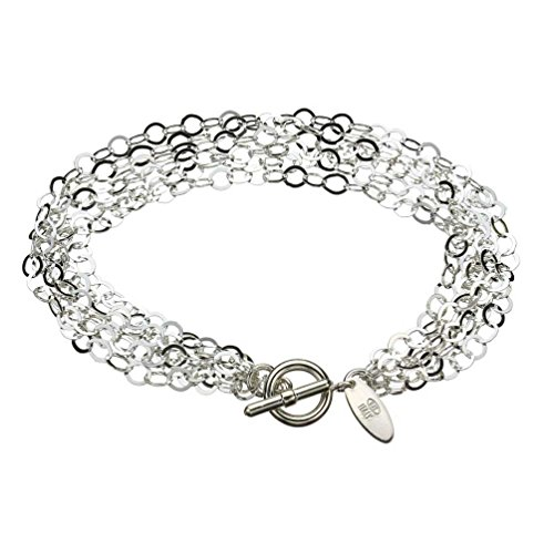 (Multi-Strand Flat Round Sterling Silver Chain Toggle Bracelet Italy 7.5 Inch)