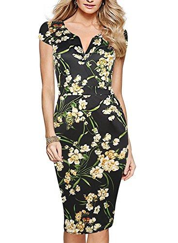 Women's Elegant Floral Print Pockets V-Neck Cap Sleeve Tunic Wear to Work Bodycon Dress (Small, Black)