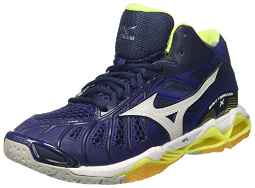 Safetyyellow Mid Homme Volleyball de Mizuno White Multicolore Chaussures Wave Bluedepths Tornado Uxq1xH7v