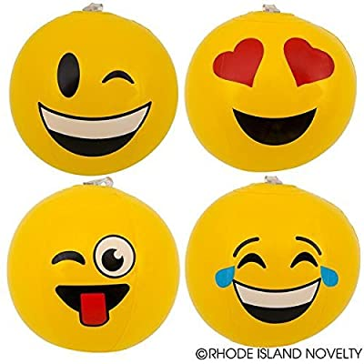 "2 Dozen(24) Fun MINI Emoji Beach Ball Inflates (6"" ea) party / decor Emoticon"