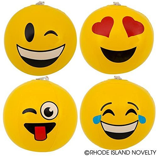 2 Dozen(24) Fun MINI Emoji Beach Ball Inflates (6
