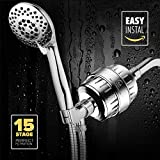 AquaHomeGroup 15 Stage Shower Filter With Vitamin C For Hard Water - Shower Head Filter Remove Chlorine - Shower Filters 2 Cartridges Included - Consistent Water Flow Showerhead